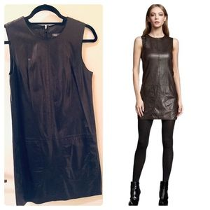 VINCE black Lamb Leather Shift Dress